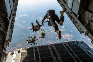 Army Men jumping out of a plane