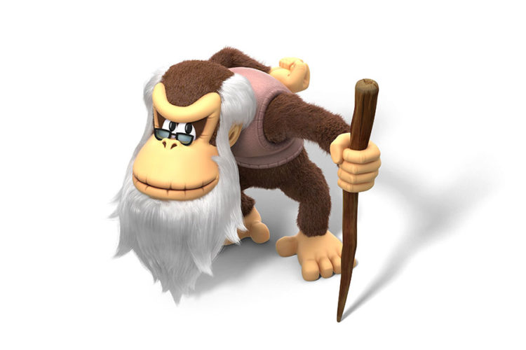 Animated picture of an old monkey holding a walking stick