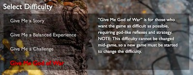 Difficulty settings for God of War video game