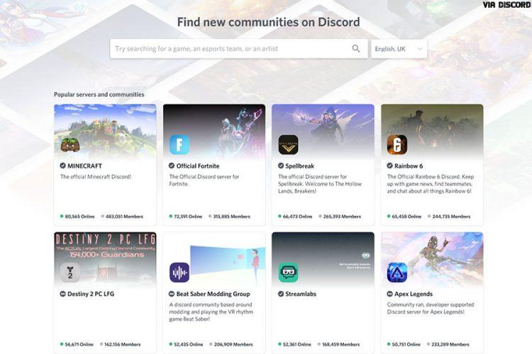 Discord app - Discover servers