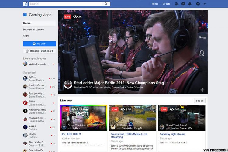 Facebook gaming streaming home page