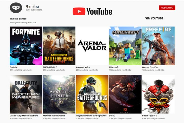 Youtube gaming, list of live games to watch